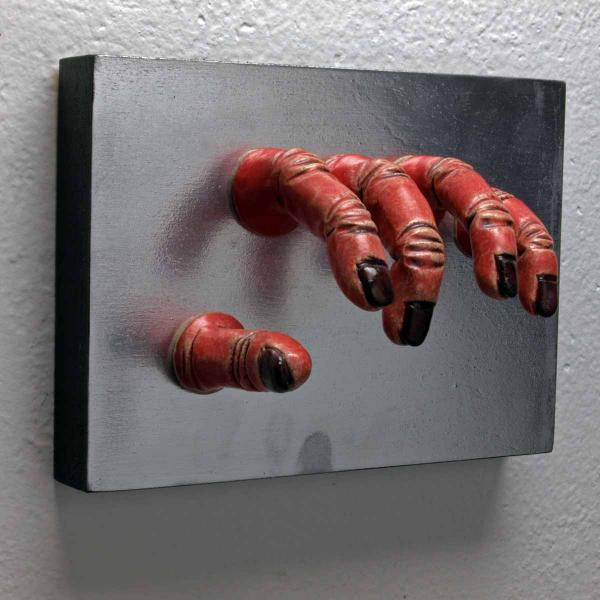 Red Grasping Wall Sculpture