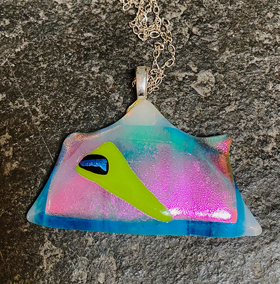 pink and blue dichroic glass pendant