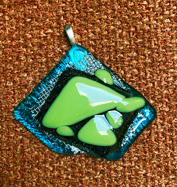 Blue and green diamond shaped pendant