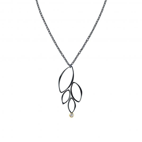 Ella Oxidized Four Leaf Necklace with Gold & Gemstone