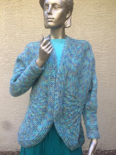 Tailored Handknit Cardigan in Teals