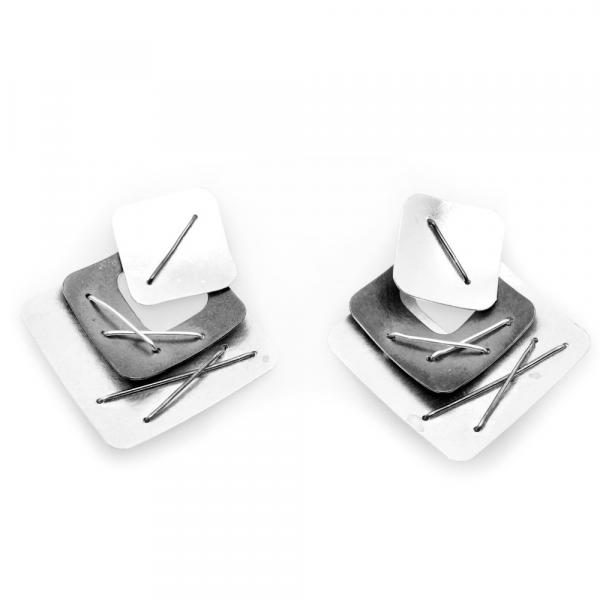 Three Piece Layered Earring with Large Bright Silver Top