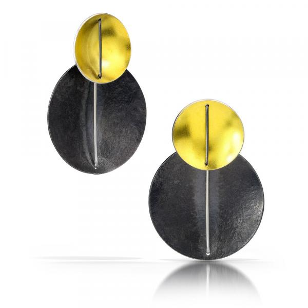 Double Circle Earring with 22k Gold