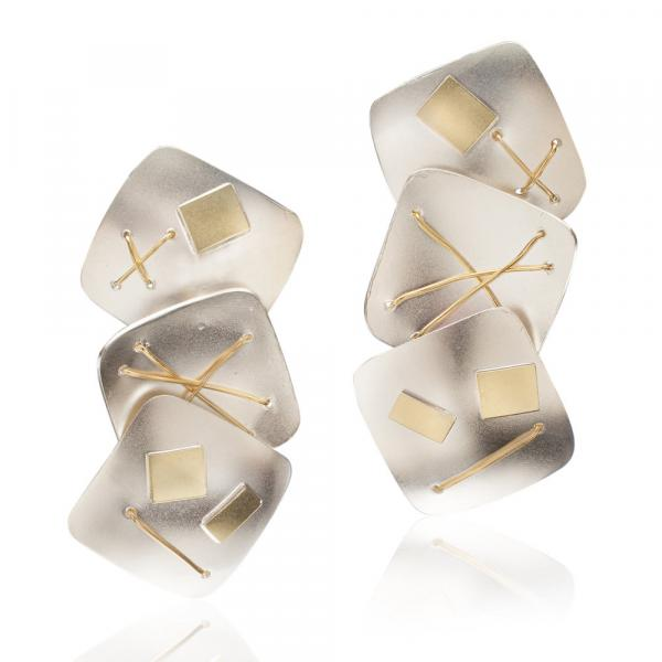 Interwoven Squares Three Piece Earrings