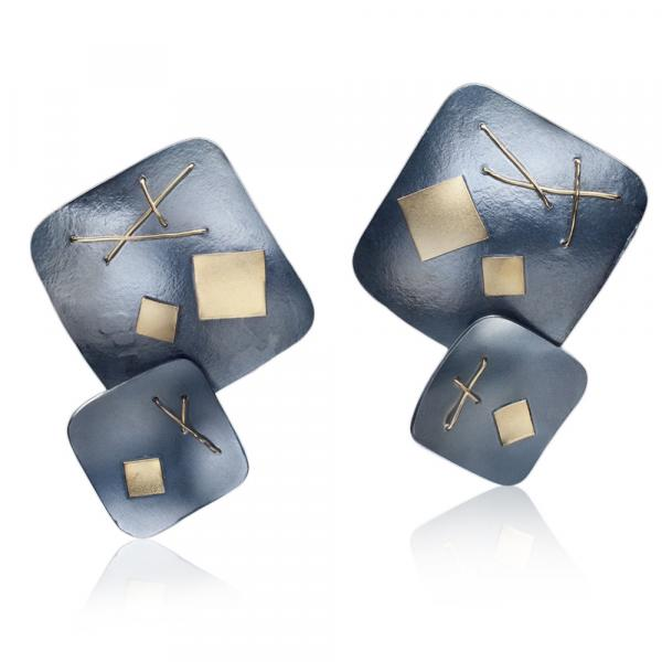 Oxidized Interwoven Squares Two Square Earrings