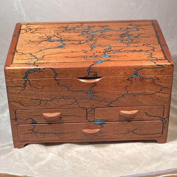 Mahogany and Turquoise jewelry box