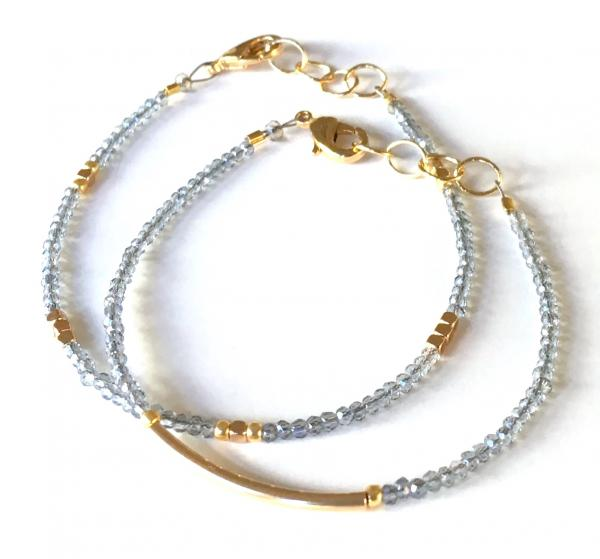 Crescent Labradorite and Gold Nugget Bracelets