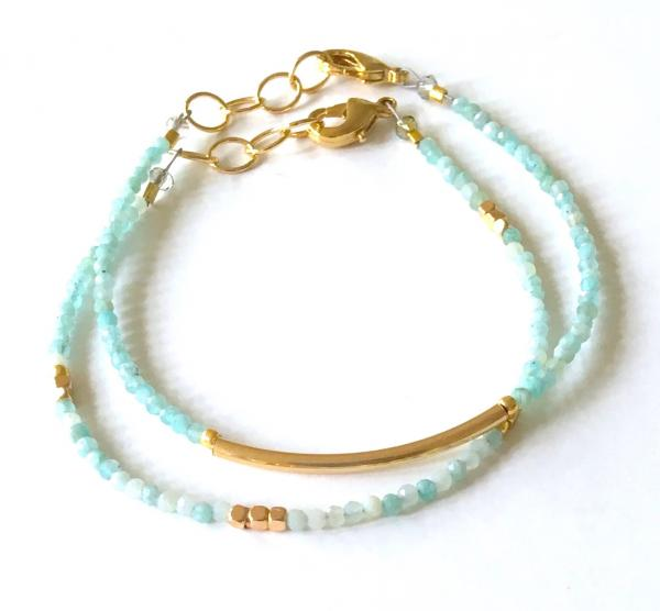 Chalcedony Crescent and Gold Nugget Bracelets