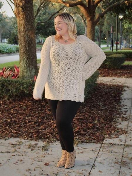 Taupe Crochet Sweater - Plus
