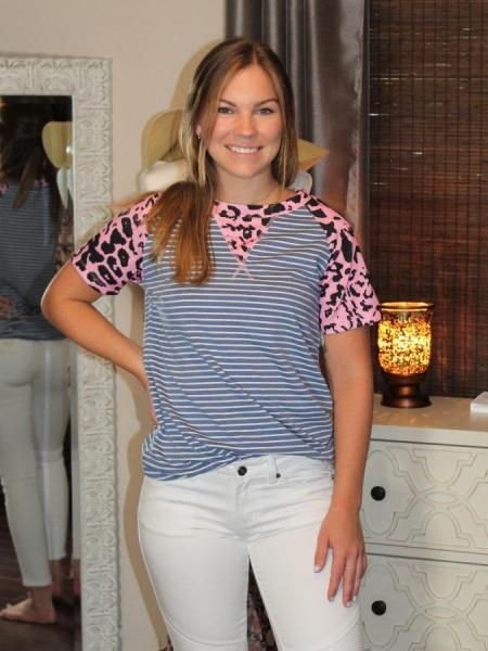 Navy Striped Pink Leopard Tee