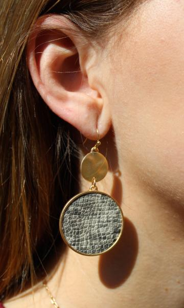 Disc Drop Earrings - Grey