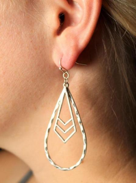 Hammered Teardrop Earrings - Silver