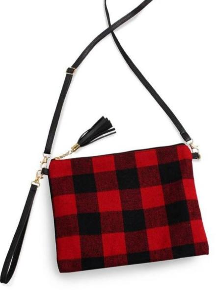 Buffalo Plaid Wristlet - Red