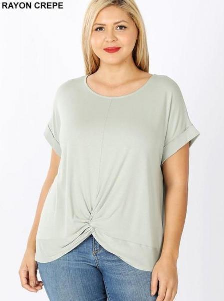 Sage Front Knot Top