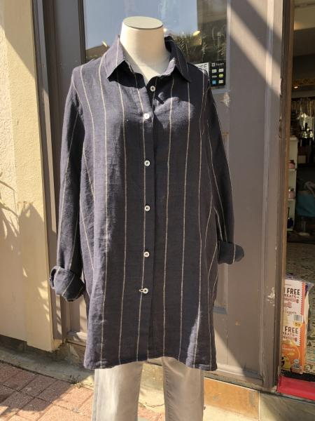 cameron Classic Shirt- Navy Taupe Stripe-Medium