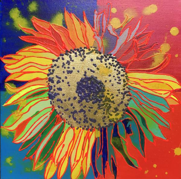 Sunflower with Color Blocks