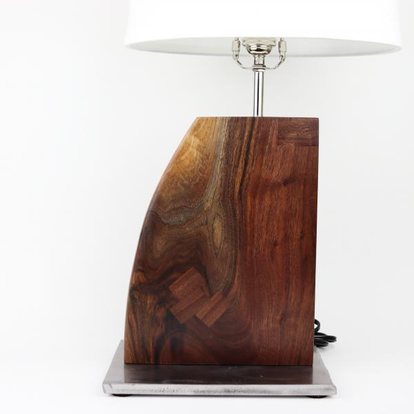 Walnut and steel table lamp