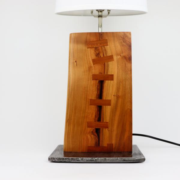 cherry and steel table lamp