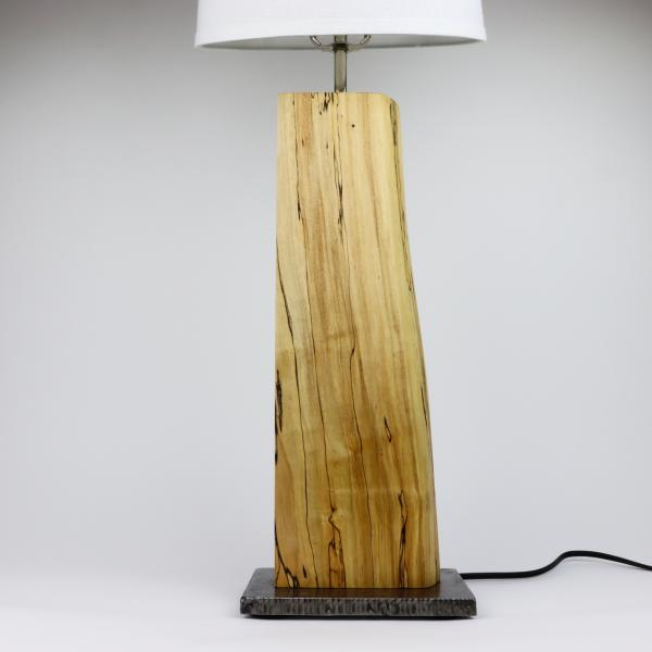 spalted maple and steel table lamp