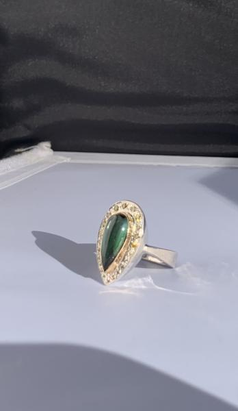 Tourmaline, diamond and sterling/14k ring picture