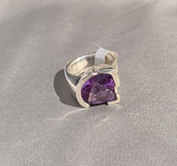 Amethyst and sterling ring size 7.5