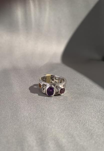 14k white gold, amethyst, citrine and garnet ring picture