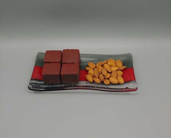 "4"" x 8"" Sushi Plate – Red Opal/Silver Gray/Black Stringer picture"