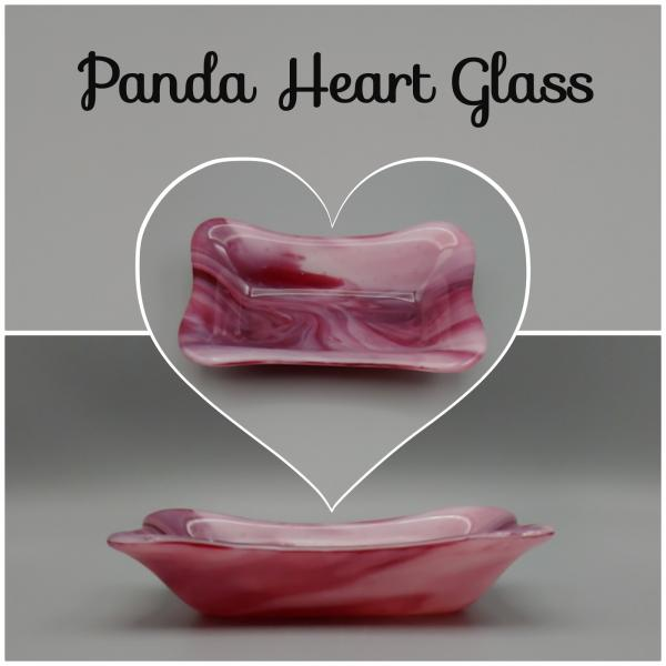 "3"" x 6"" Rectangle Dish – Pink/Red/White Swirl"