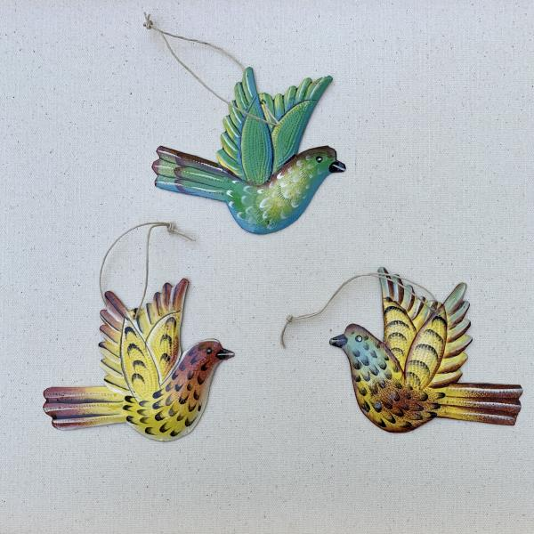 Colorful Painted Bird Ornaments