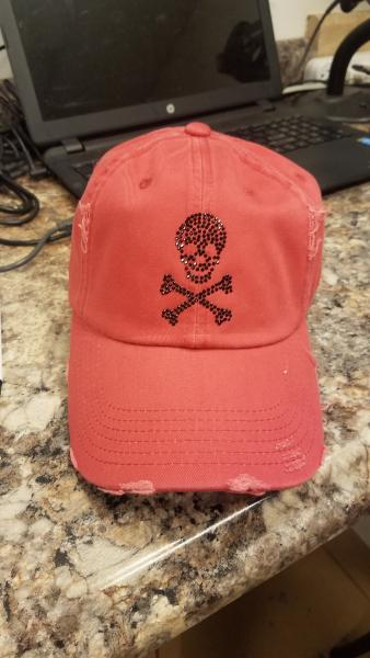 Small Skull and Crossbones on Black Hat