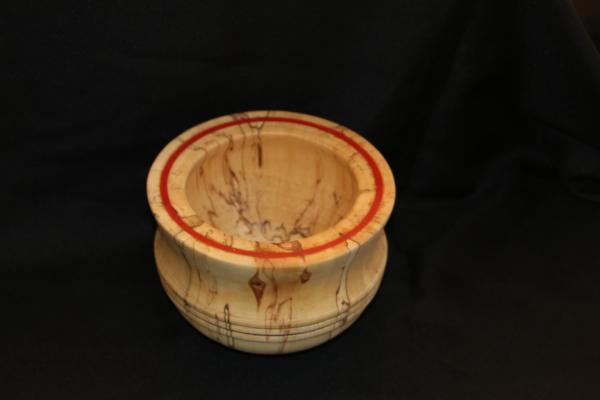 Spalted birch with  inlayed red stone bowl