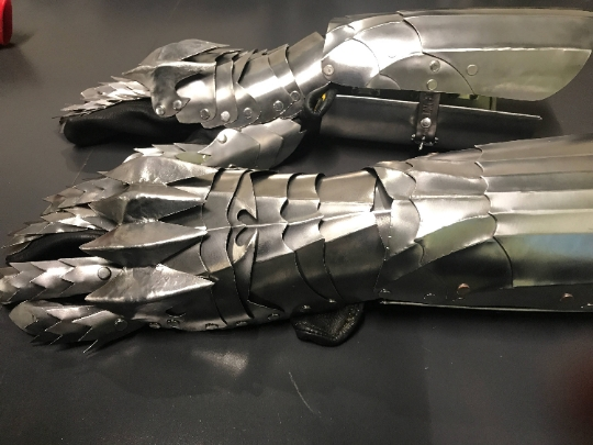 Gothic Style Stainless Steel Gaunlet - Pair of Gauntlets