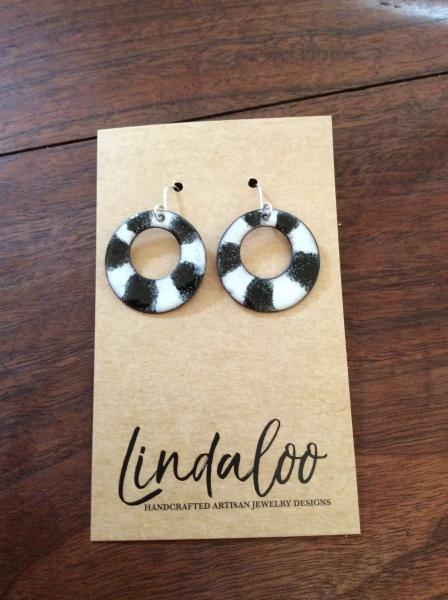 Black and White Enamel Earrings