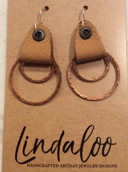 Leather and Copper Ring Earrings