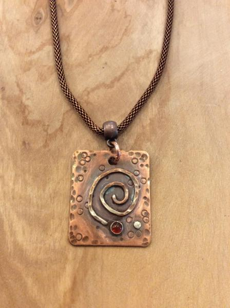 Textured Copper Pendant With Carnelian Bezel on  Antiqued Copper Rope Chain