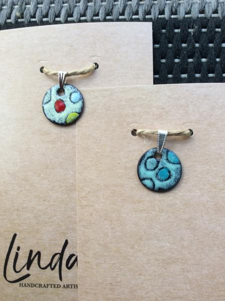 Enameled Round Pendant with Circles