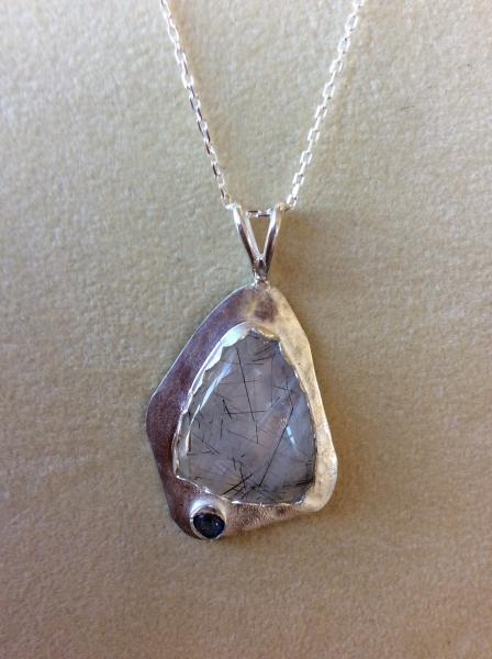 Rutigated Quartz And Amethyst Sterling Pendant