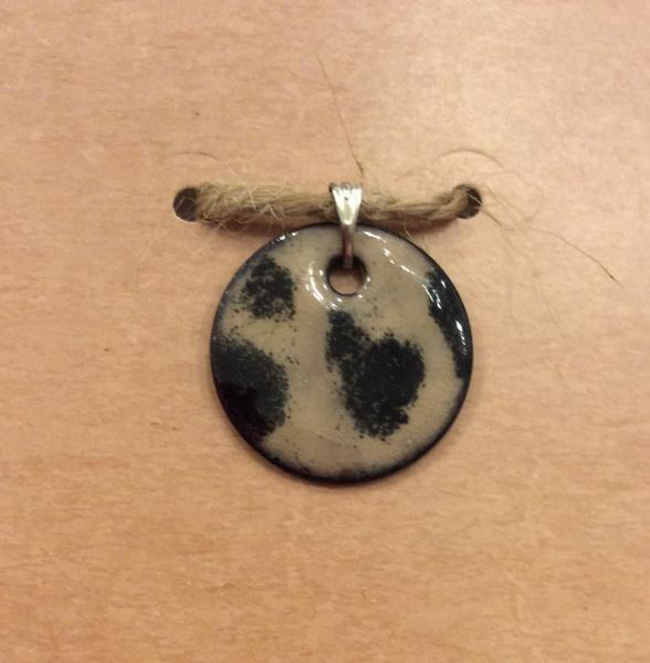 Tan and Black Enamel Round Pendant