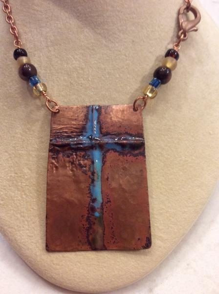 Fold Formed Copper Enameled Cross Necklace