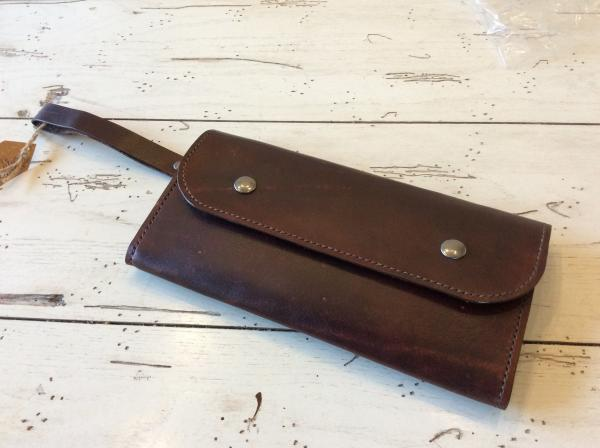Medium Brown Genuine Leather Handcrafted Clutch Purse