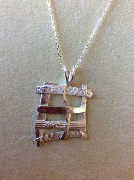 "Woven Sterling Silver Pendant on 18"" Chain"
