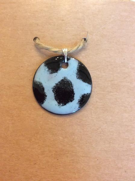 Black and Blue Animal Spot Enamel Pendant