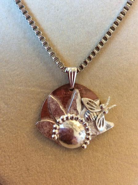 Sterling Bee/Flower on Italian Coin Necklace