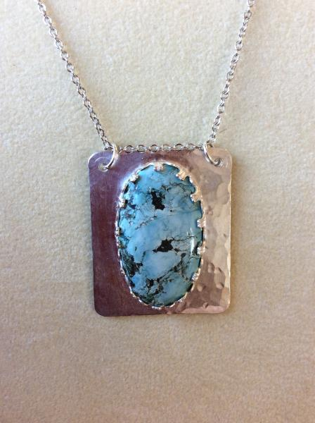 "Turquoise Sterling Silver Pendant on 18"" Chainon"