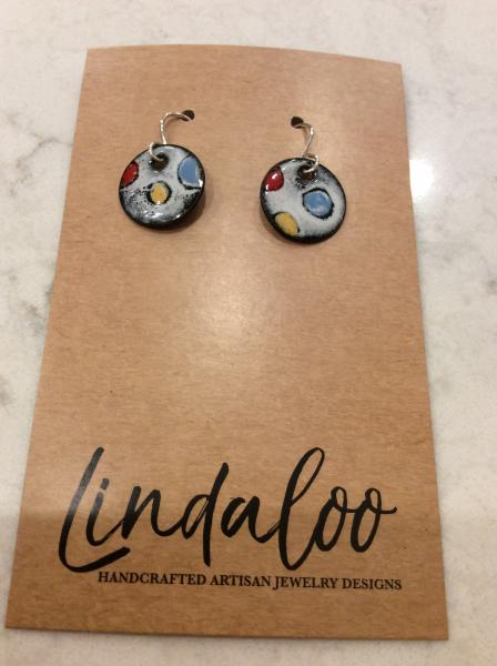 Colorful Circles Enameled Earrings