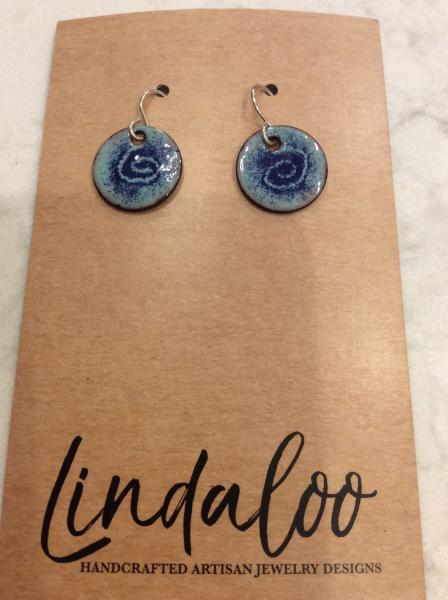 Blue Swirl Enameled Earrings