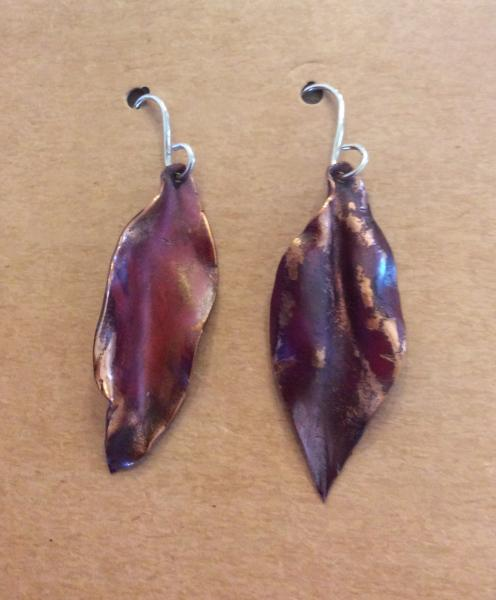 Fold Formed Natural Copper Earrings