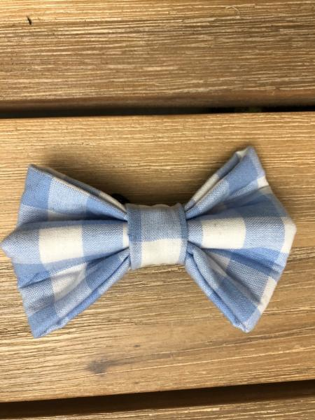 PET BOW TIE: Blue Gingham