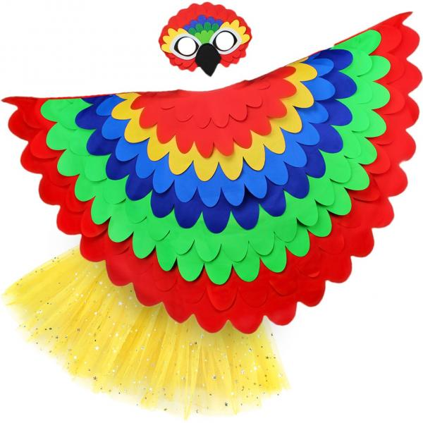 Bird Cape Girls Bird Cape Kids Parrot Costume with Parrot Wings Mask and Tutu