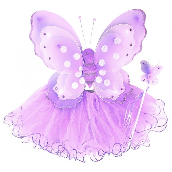 Girls Purple Butterfly Costume Fairy Wing Set with Sparkle Wings Tutu and Wand